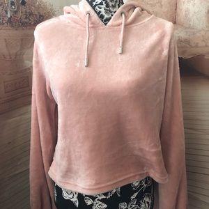 Fashion Nova pink velour cropped hoodie